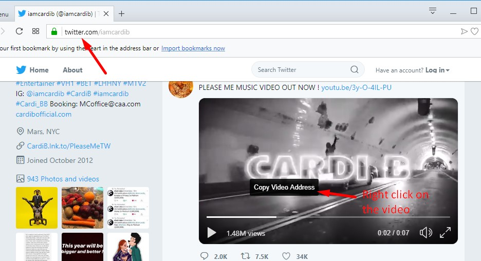 Convert and download from Twitter valid link.